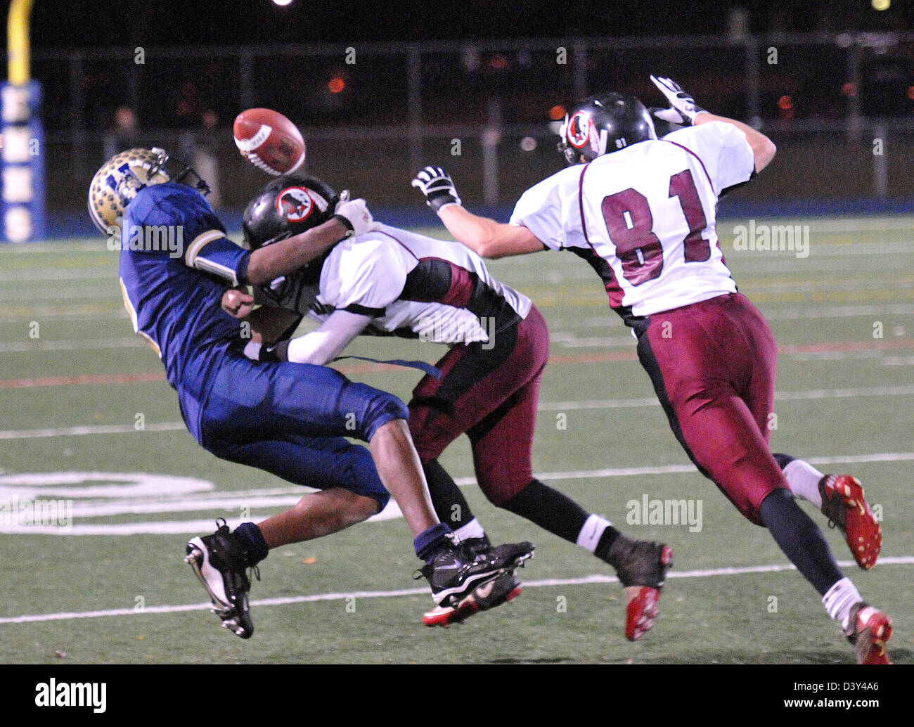 Hard hit during a High school football action in CT USA - Stock Image