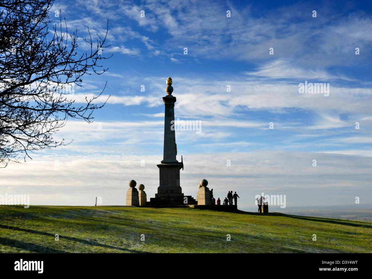 Bucks - Chiltern Hills - monument on Coombe Hill - viewpoint over Aylesbury Plain - walkers - bright winter sunshine - Stock Image
