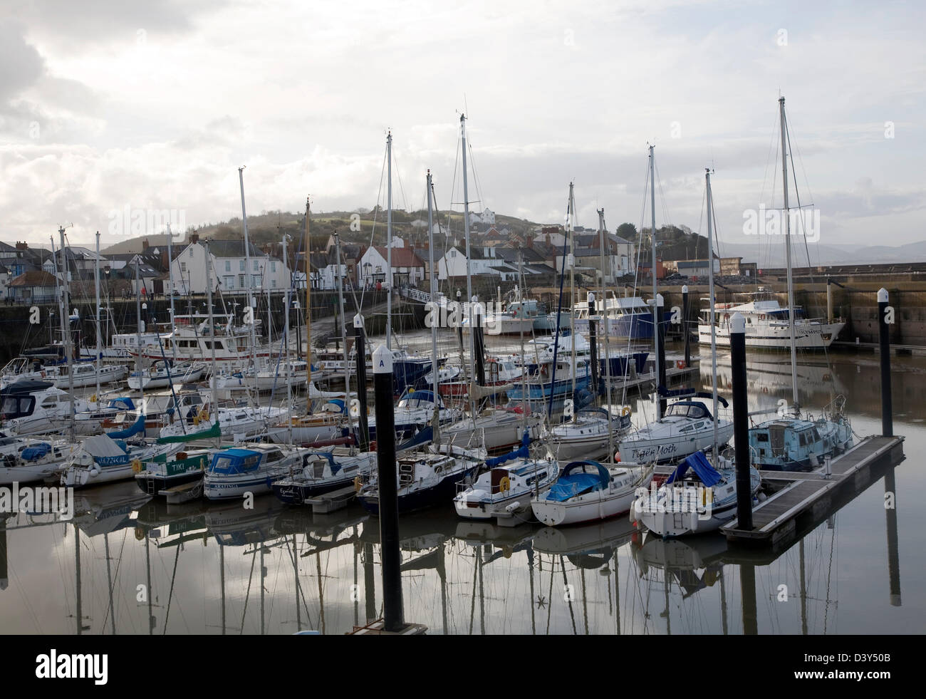 Boats moorings marina Watchet, Somerset, England - Stock Image