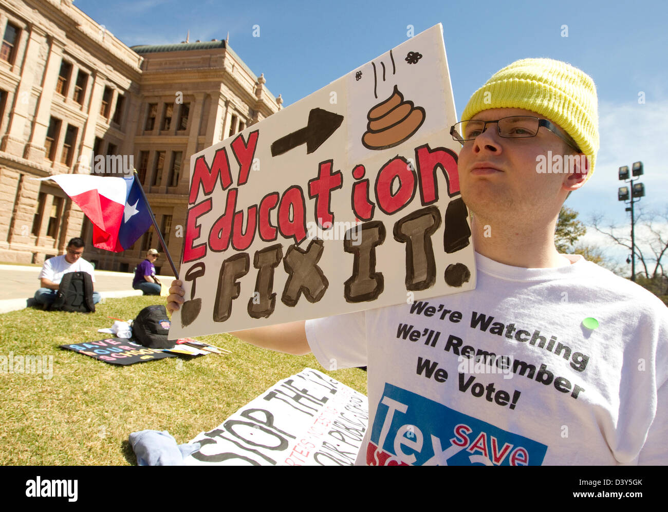 Large group at Texas Capitol building during the Save Texas Schools Rally. Citizens concerned over education under - Stock Image