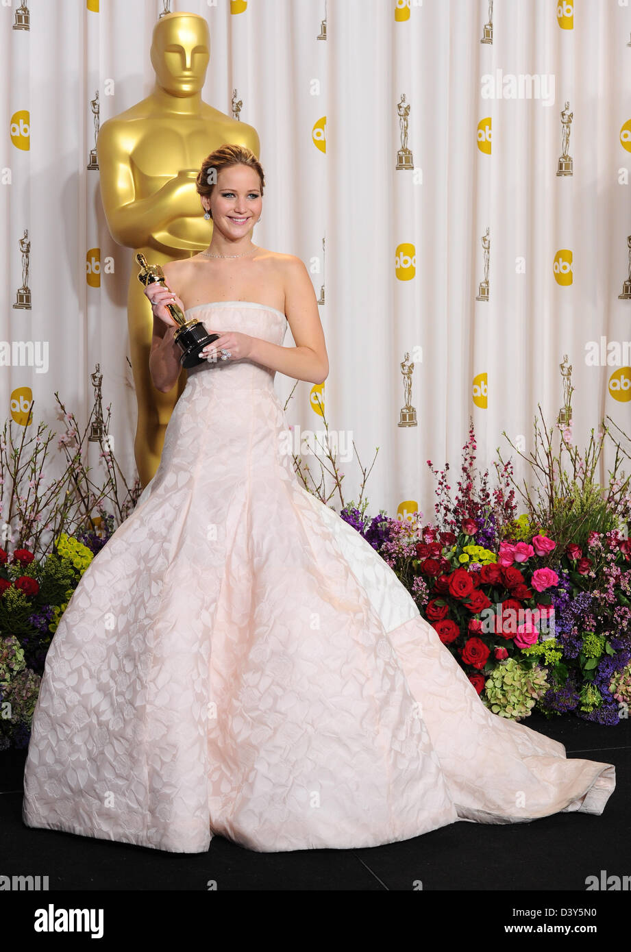 Los Angeles, USA. 24th February 2013. Jennifer Lawrence  in the winners press room at the 85th Annual Academy Awards - Stock Image