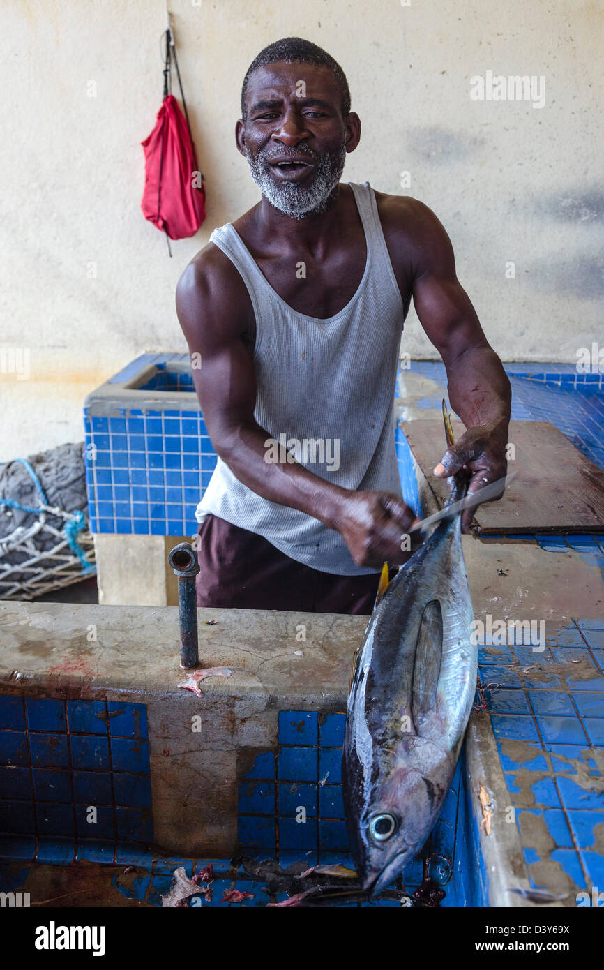 Local fishermen gutting a tuna at the fish market, Micoud, St Lucia - Stock Image
