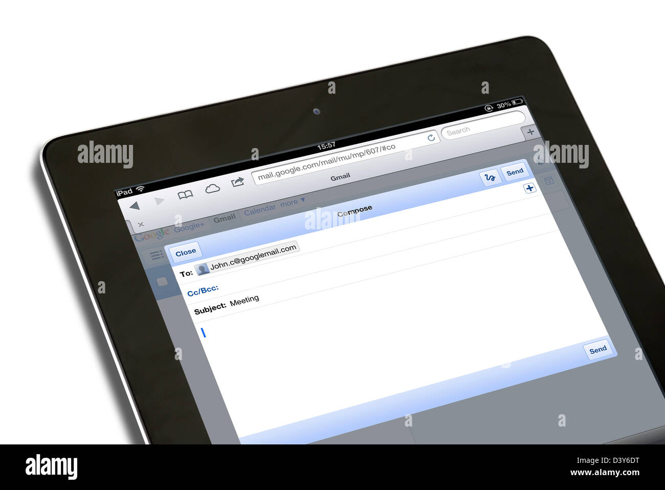 Composing an email with Google Gmail account on a 4th generation iPad, UK - Stock Image
