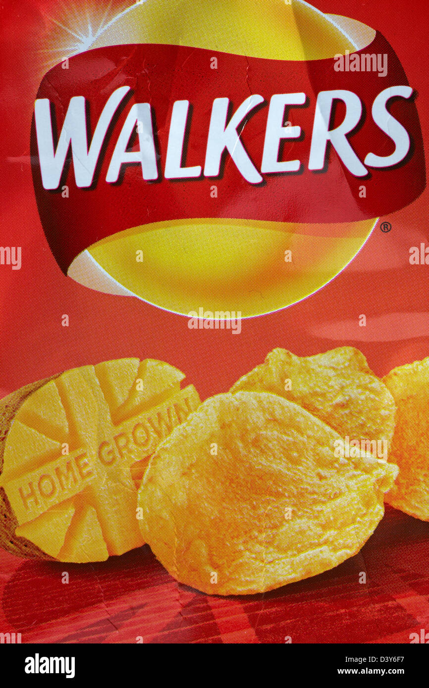 Walkers home grown crisps - packet of Walkers Classically Ready Salted with salt from Cheshire - Stock Image