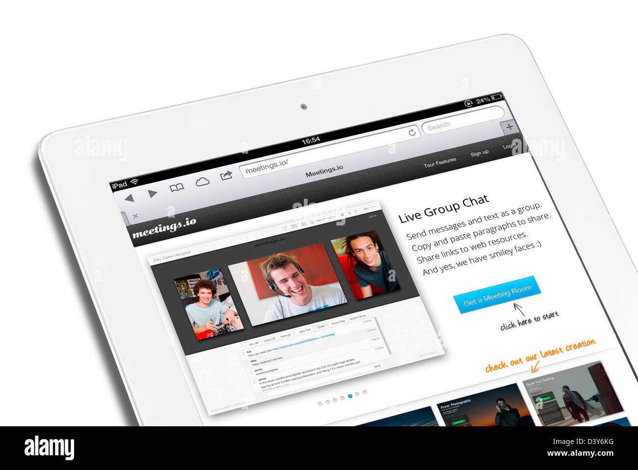 The meetings.io website on a 4th generation iPad - Stock Image