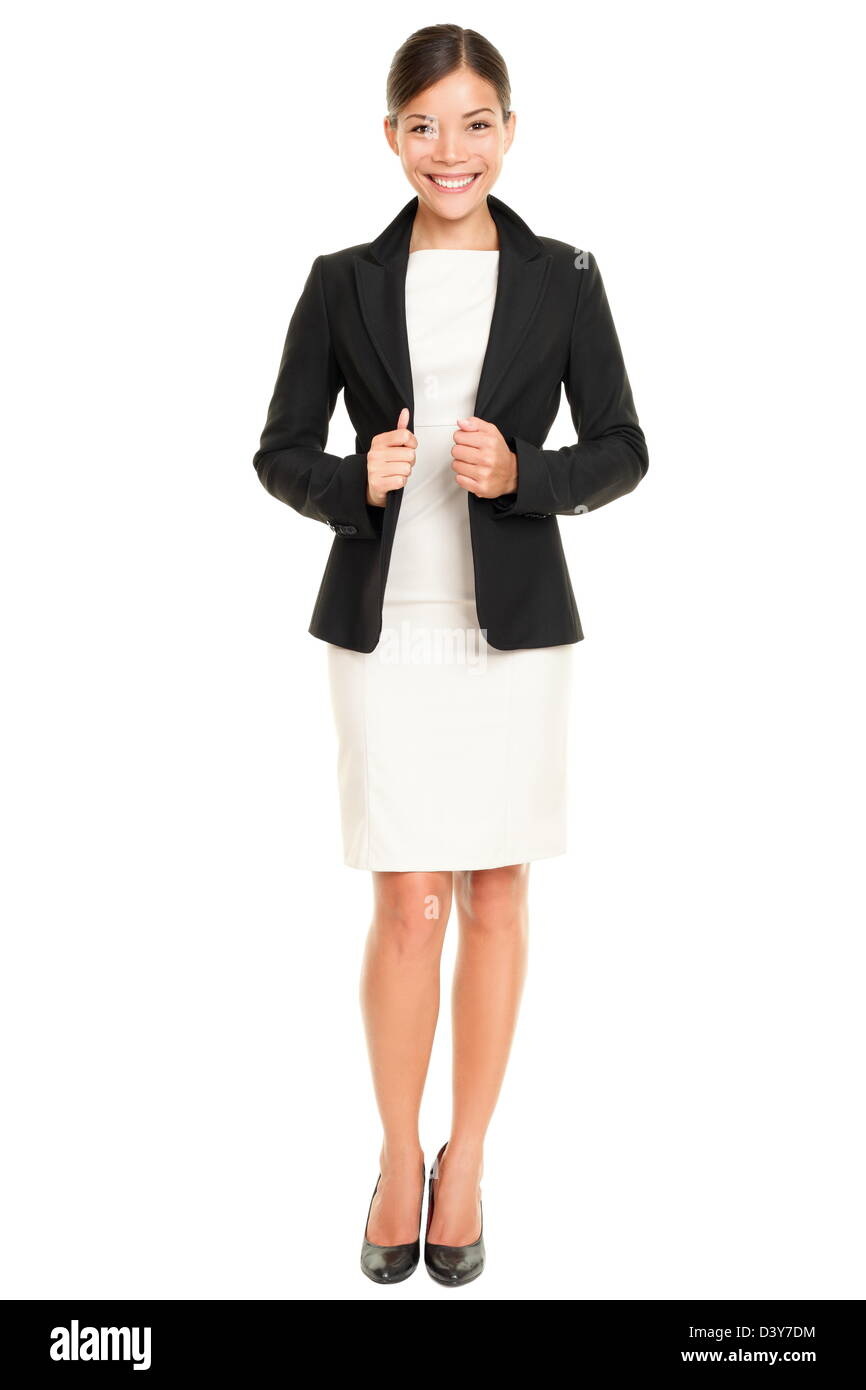 Caucasian  Asian professional businesswoman standing confident in skirt suit isolated on white background - Stock Image