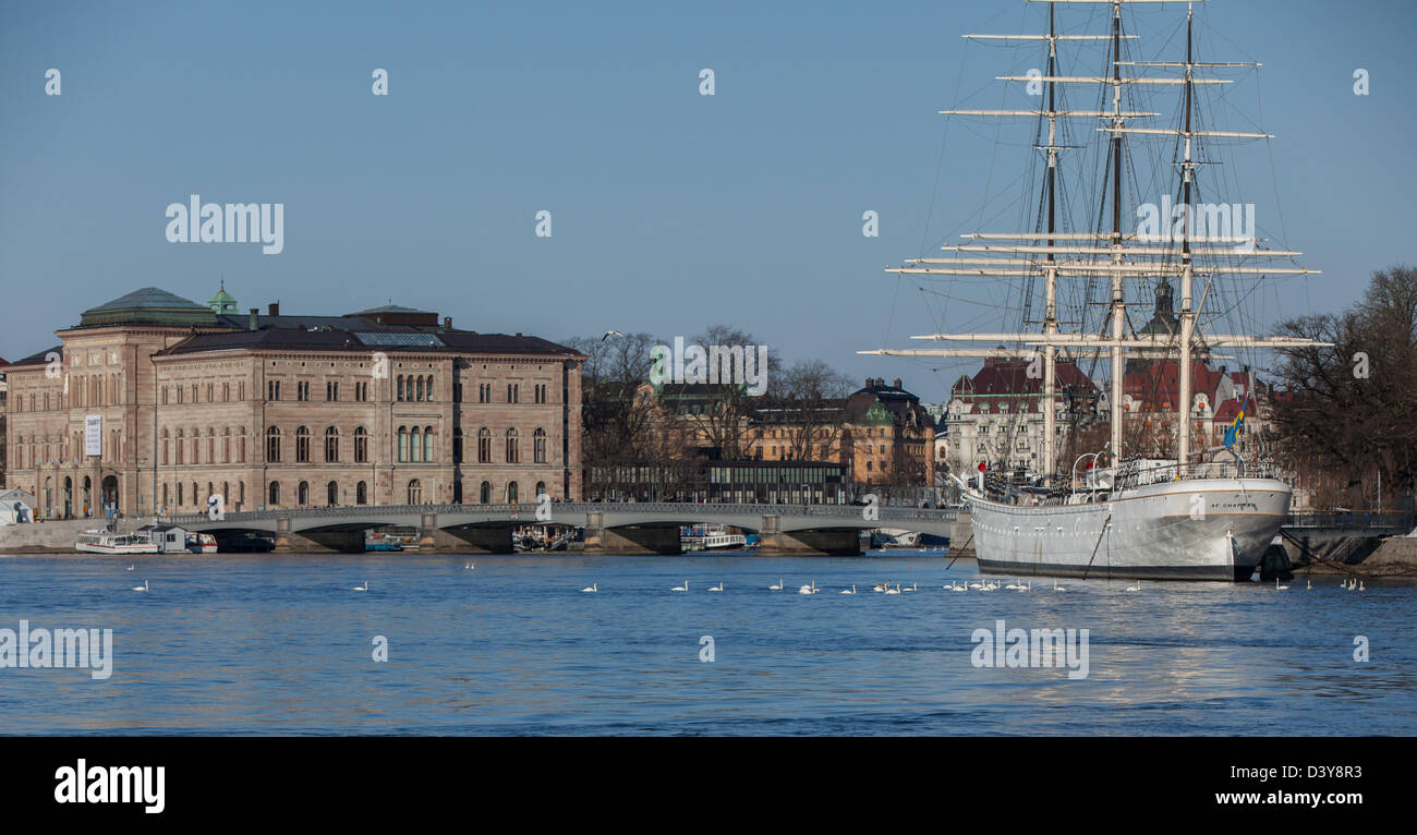 af Chapman sailing ship with the Stockholm Sweden National Museum in the background. Stock Photo