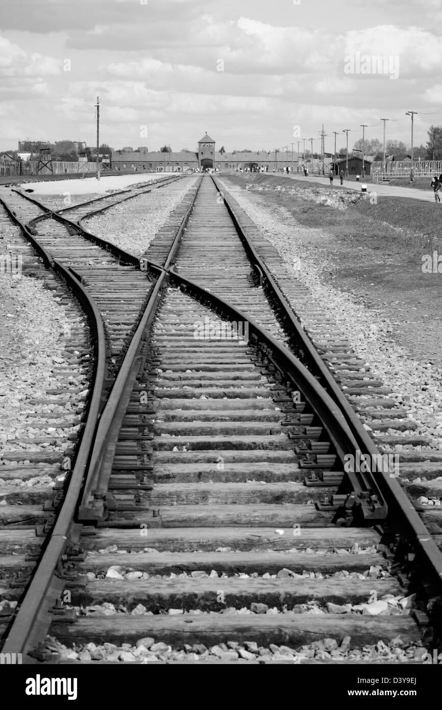 Railway in Auschwitz II Birkenau nazi concentration camp, Poland - Stock Image