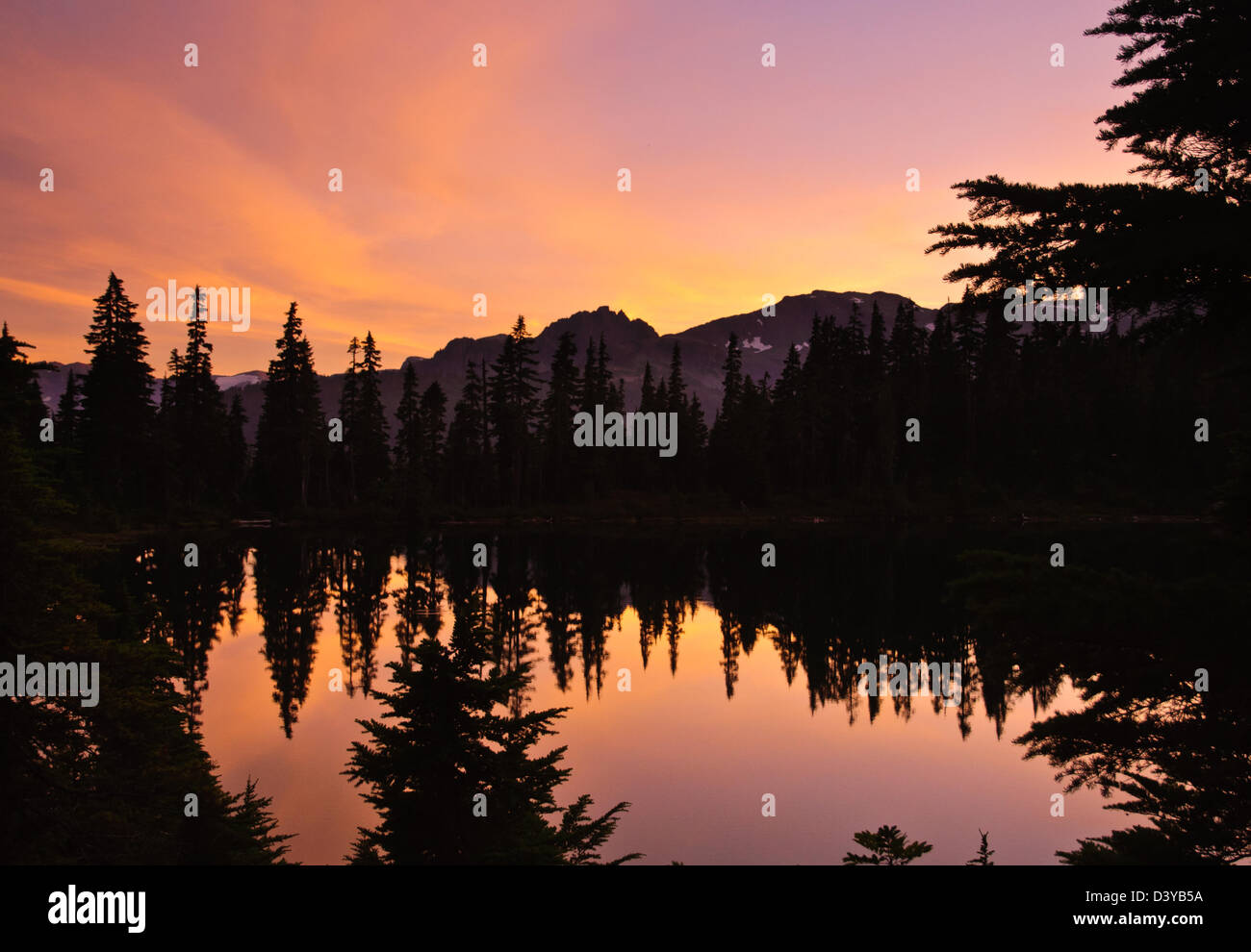 Beautiful magenta Sunset and lake, Vancouver island - Stock Image