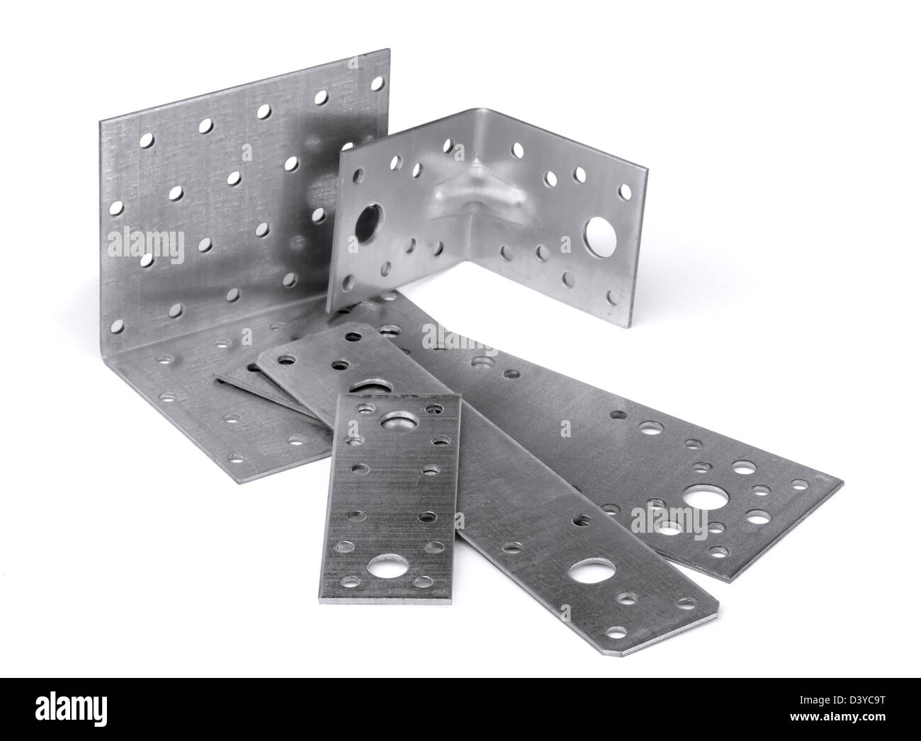Mounting angle bracket and plate isolated on white - Stock Image