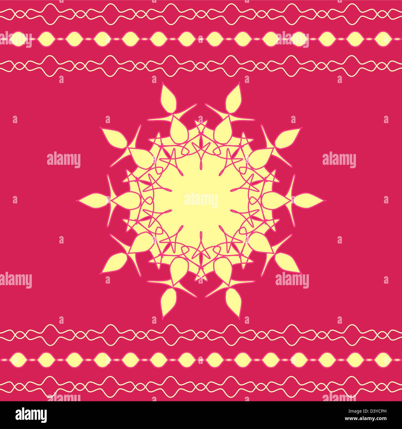 Artistic mandala design with stripes border Stock Photo