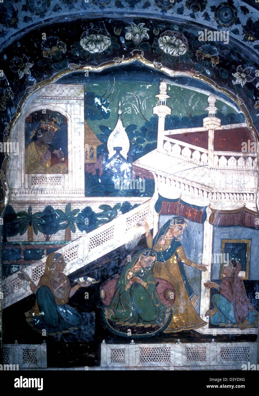 Original mural taken in the mausoleum to Ranjit Singh - Stock Image