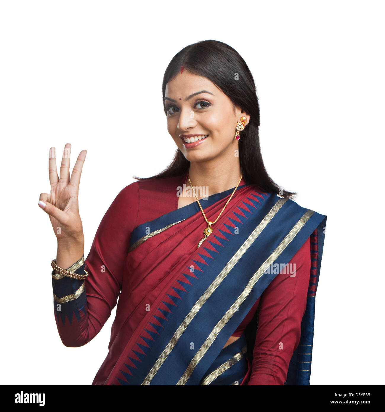 Traditionally Indian woman gesturing Stock Photo