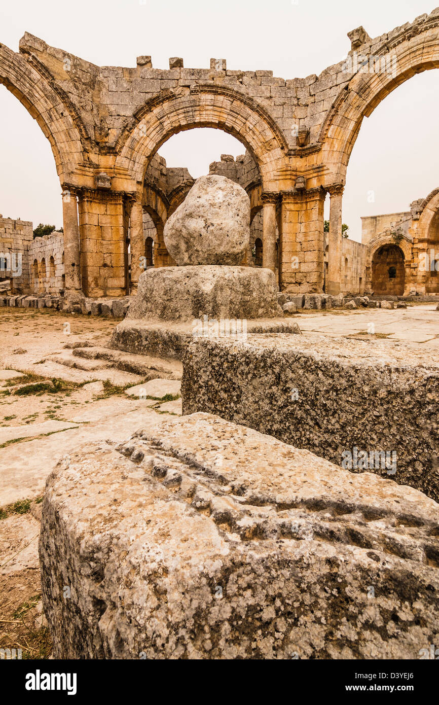 Ruins of the church and pillar Church of Saint Simeon Stylites. Syria Stock Photo