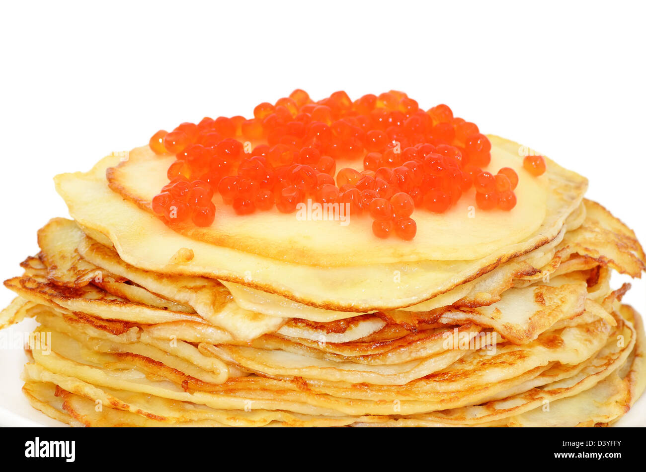 Pancakes with red caviar isolated on white background - Stock Image