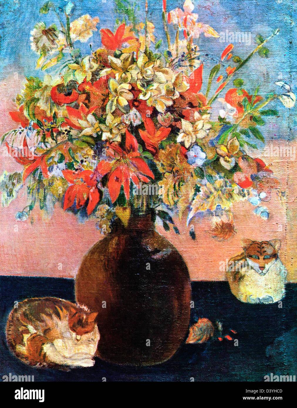 Paul Gauguin, Flowers and cats 1899 Oil on canvas. Ny Carlsberg Glyptotek, Copenhagen - Stock Image