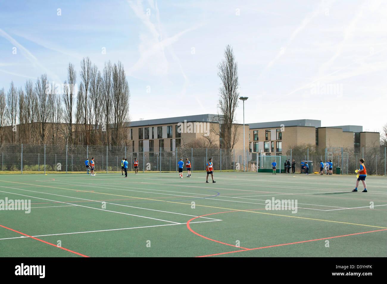 Thomas Tallis School, Greenwich, United Kingdom. Architect: John McAslan & Partners, 2012. Sports field. - Stock Image