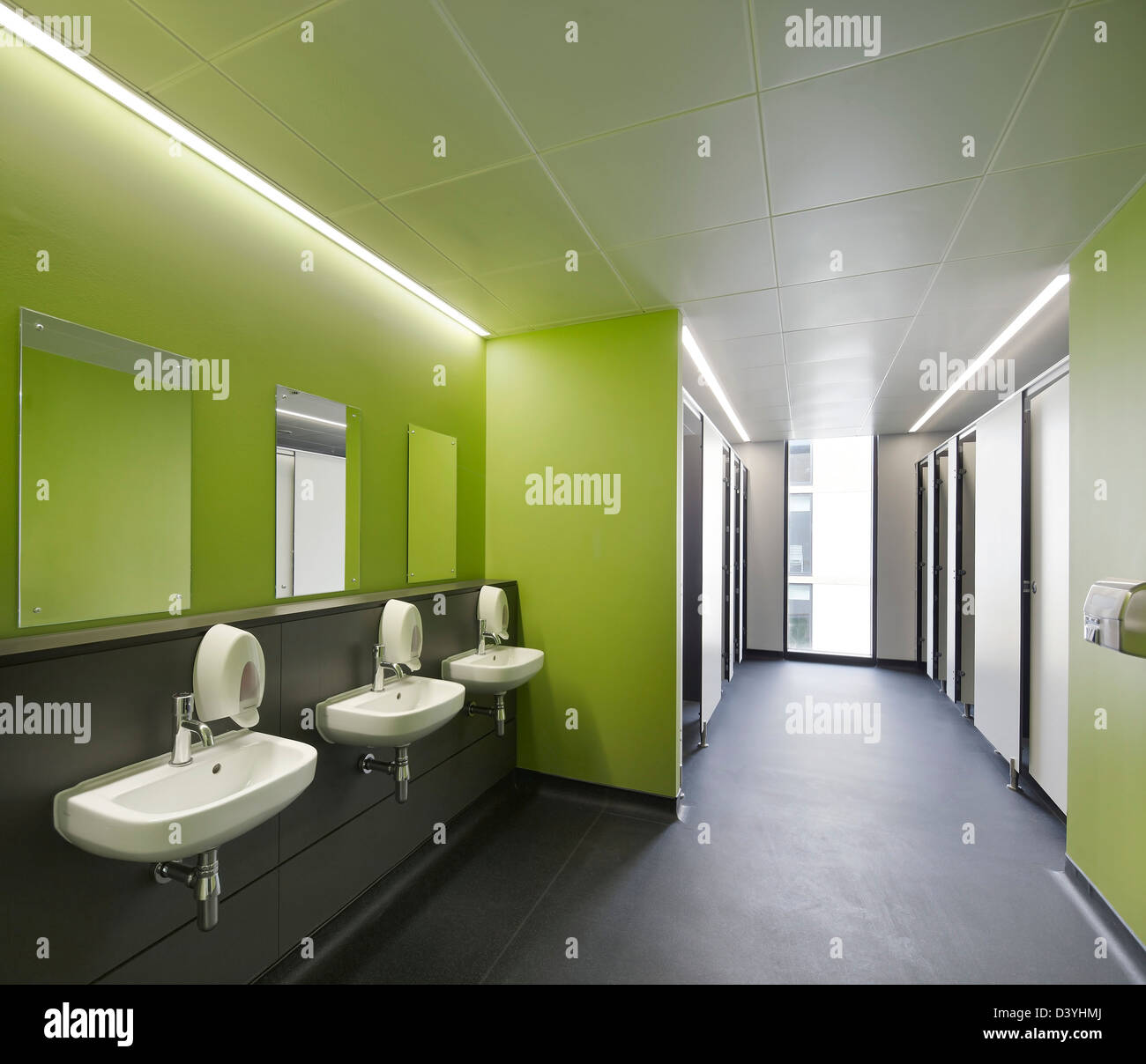 Thomas Tallis School, Greenwich, United Kingdom. Architect: John McAslan & Partners, 2012. Toilet area. - Stock Image