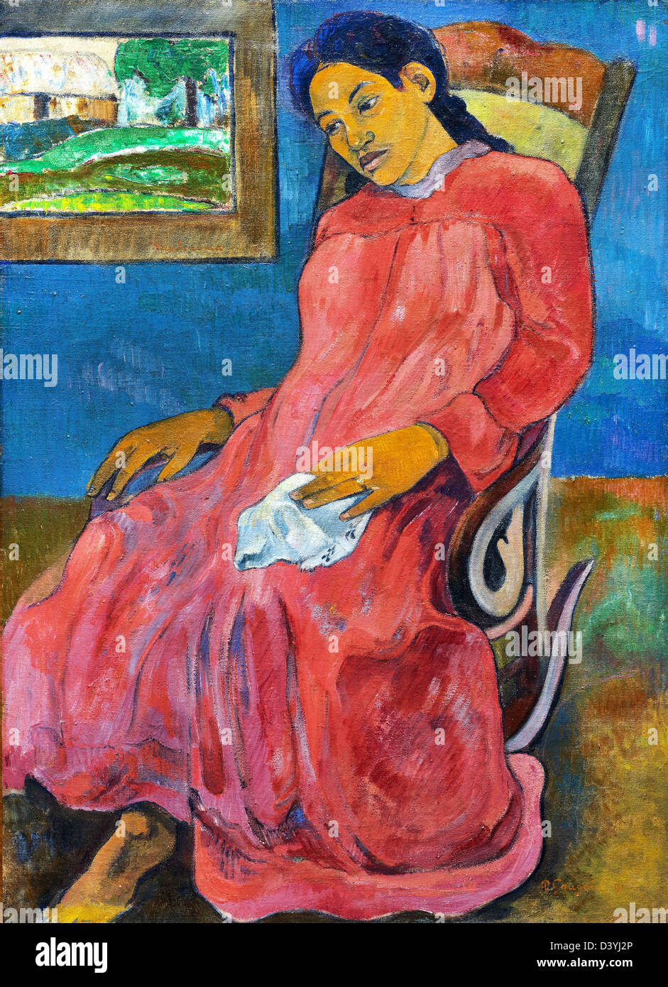 Paul Gauguin, Melancholic 1891 Oil on canvas. Nelson-Atkins Museum of Art, Kansas City, Missouri, USA - Stock Image