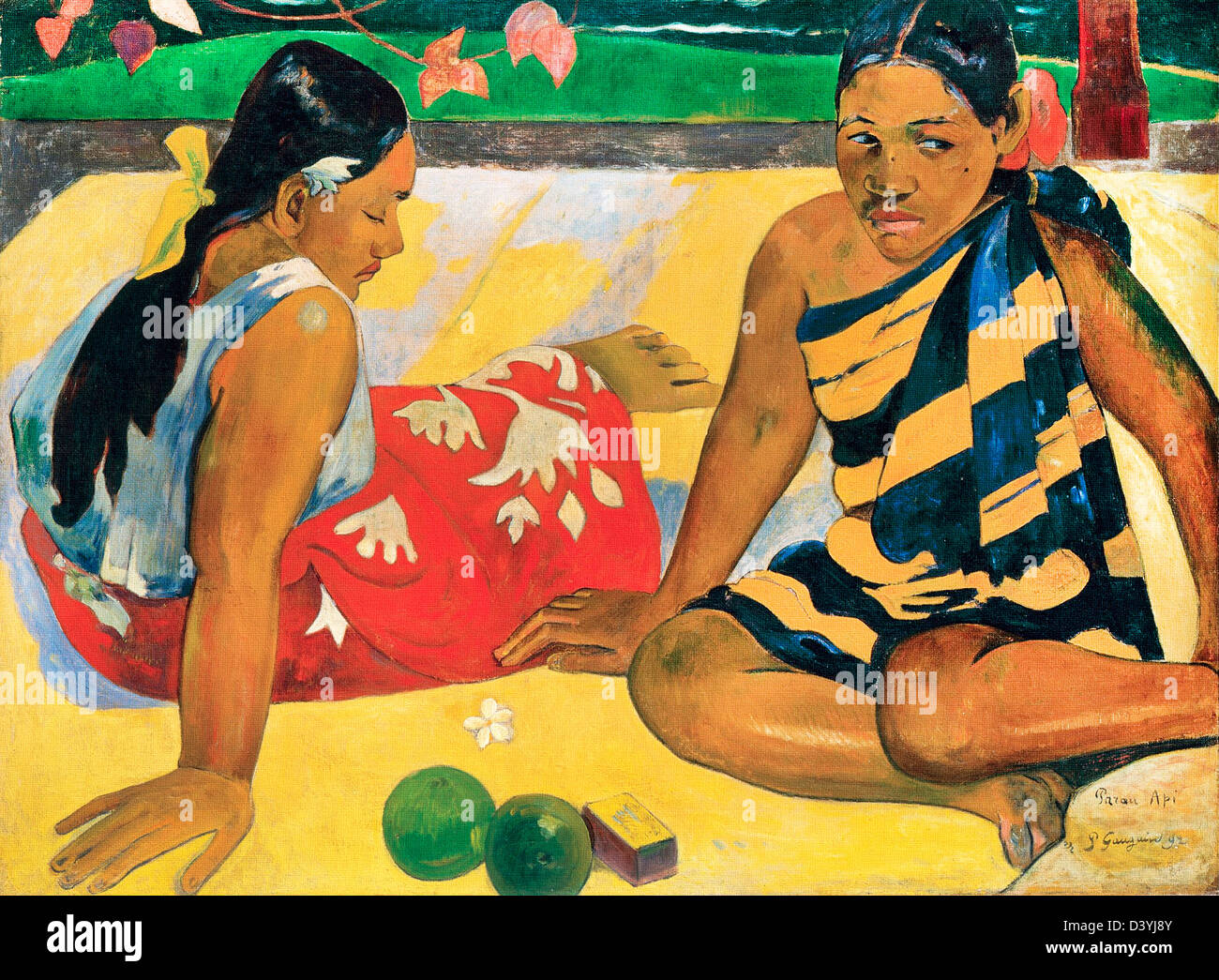 Paul Gauguin, Parau Api. What News 1892 Oil on canvas. New Masters Gallery, Dresden, Germany - Stock Image
