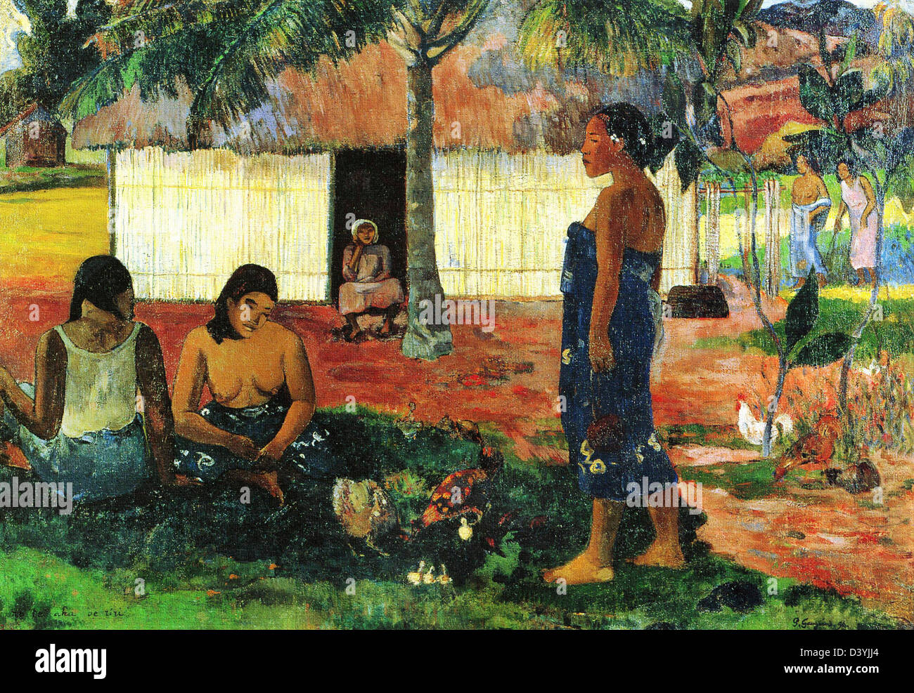 Paul Gauguin, Why Are You Angry? 1896 Oil on canvas. Art Institute of Chicago, Chicago, IL - Stock Image
