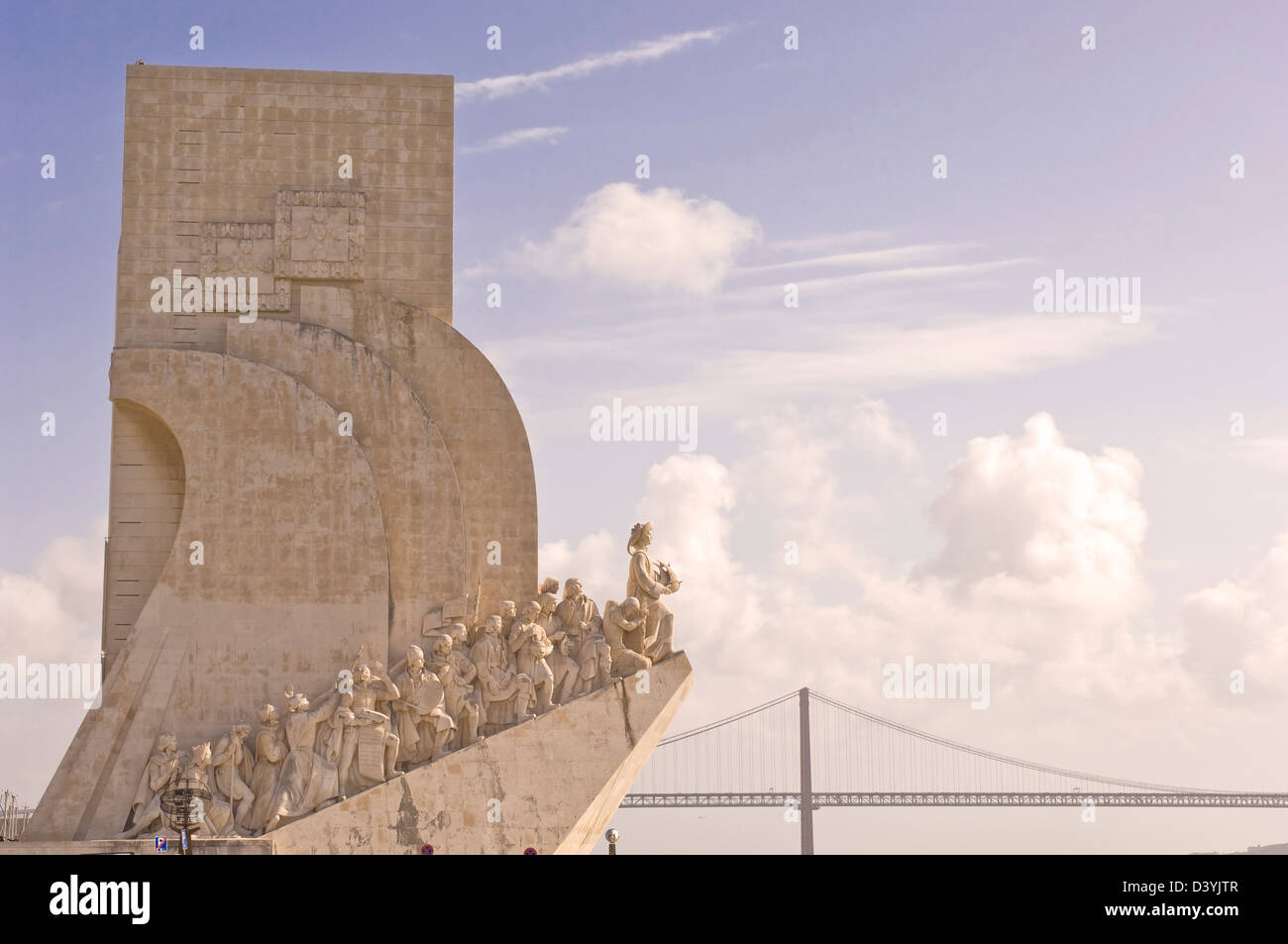 The western face of the Monument to the Discoveries, on the waterfront of the River Tagus, Belem in Lisbon, Portugal - Stock Image
