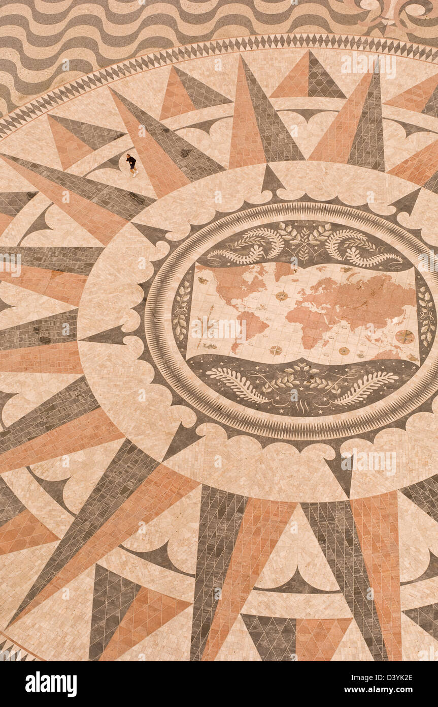 Detail of the giant pavement compass by the Monument to the Discoveries, on the Belem waterfront, Lisbon, Portugal - Stock Image