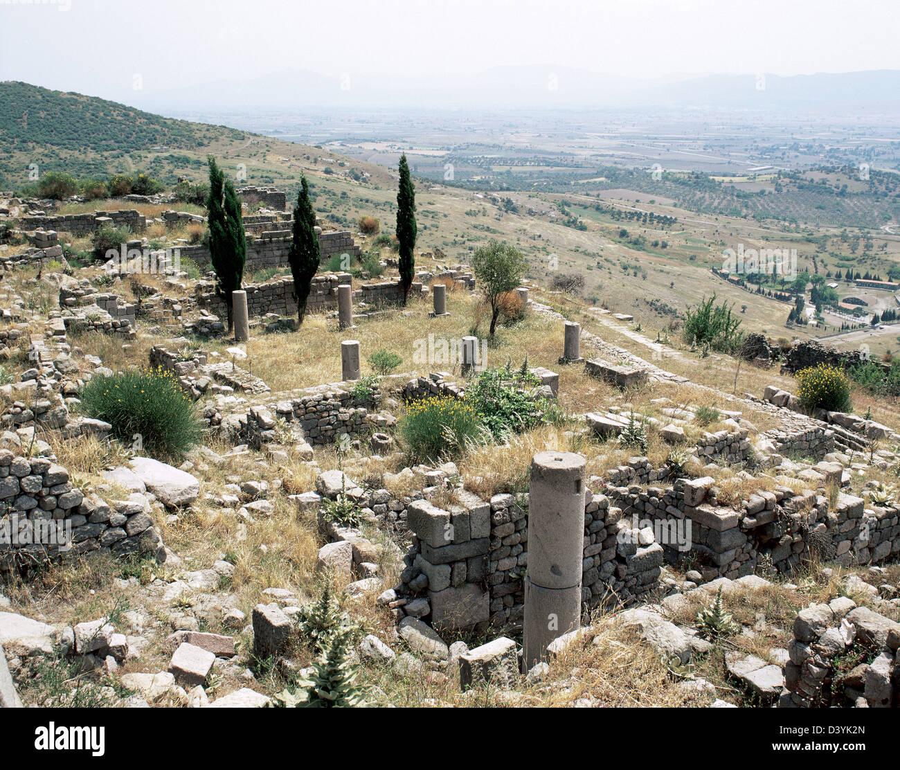 Turkey. Pergamon. Ancient Greek city in Aeolis. Ruins. - Stock Image