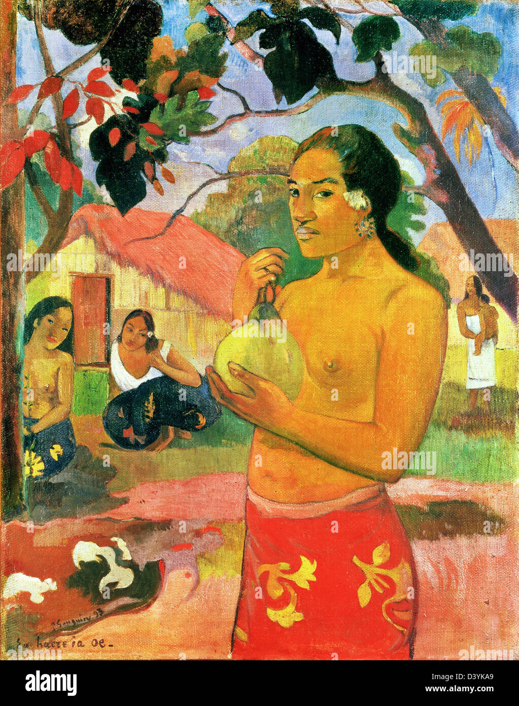 Paul Gauguin, Woman Holding a Fruit 1893 Oil on canvas. Hermitage, St. Petersburg, Russia - Stock Image