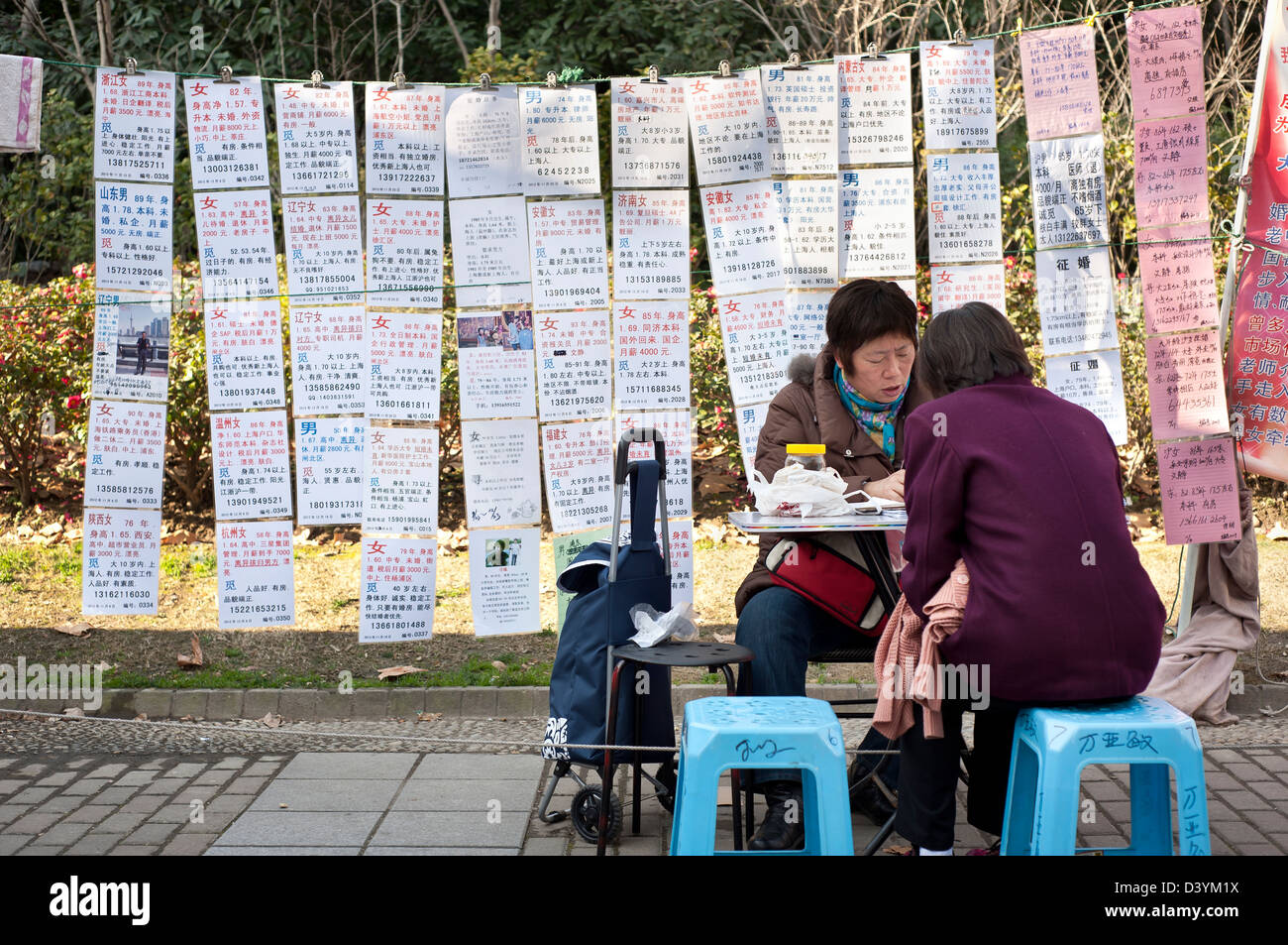 'Dating Corner', People's Park, Shanghai - Stock Image