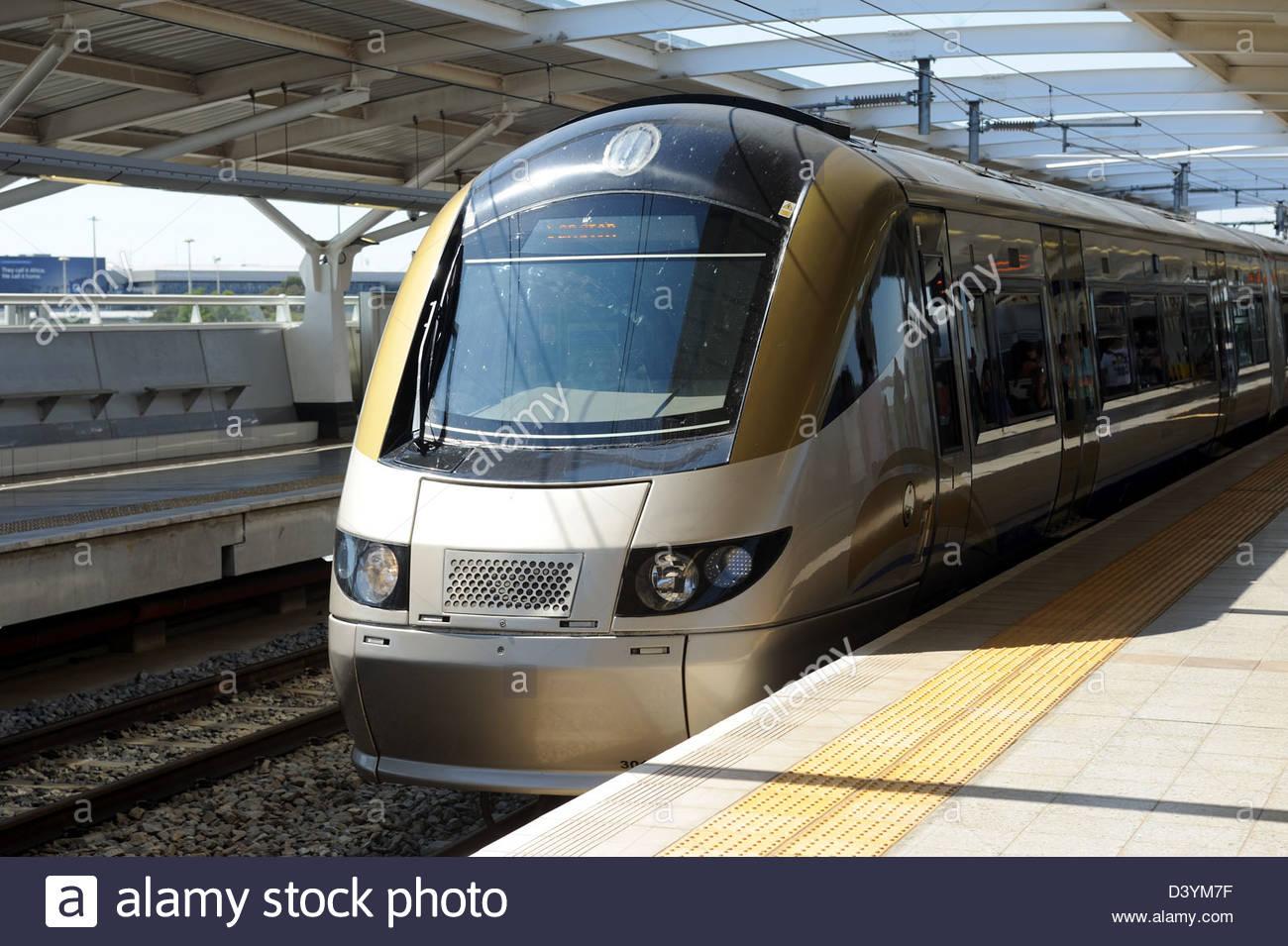 Johannesburg RSA Gautrain pulls into Rhodesfield Station - Stock Image