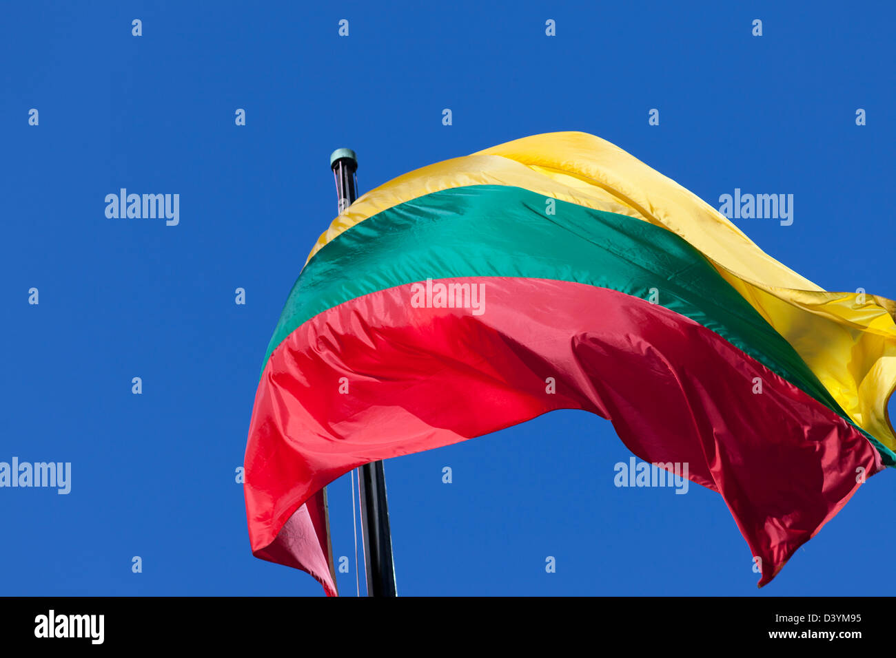 Lithuania flag, yellow green and red. - Stock Image