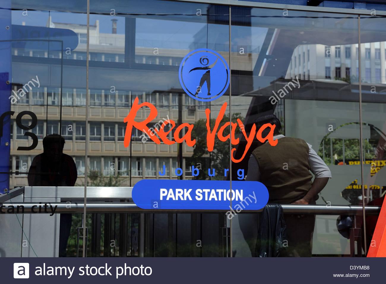 Johannesburg CBD RSA Rea Vaya bus stop Park Station - Stock Image