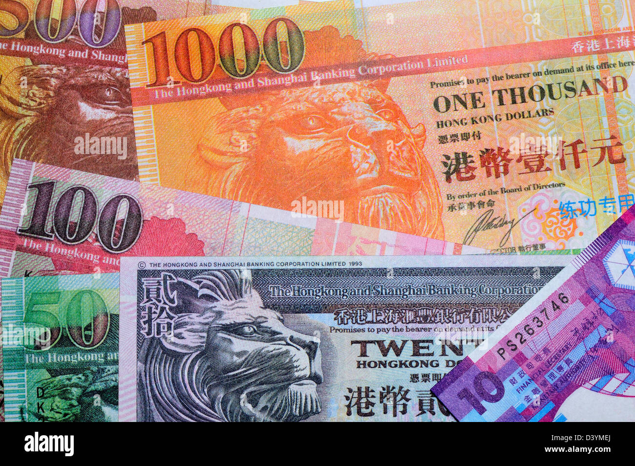 Hong Kong banknotes, from 10 to 1000 dollars - Stock Image