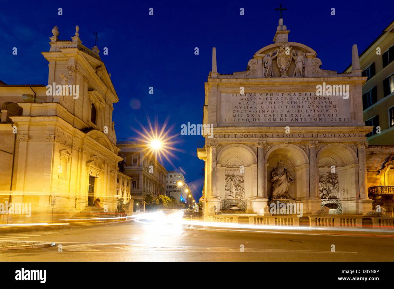 Fontana dell'Acqua Felice in Piazza di San Bernardo, Rome Italy - Stock Image