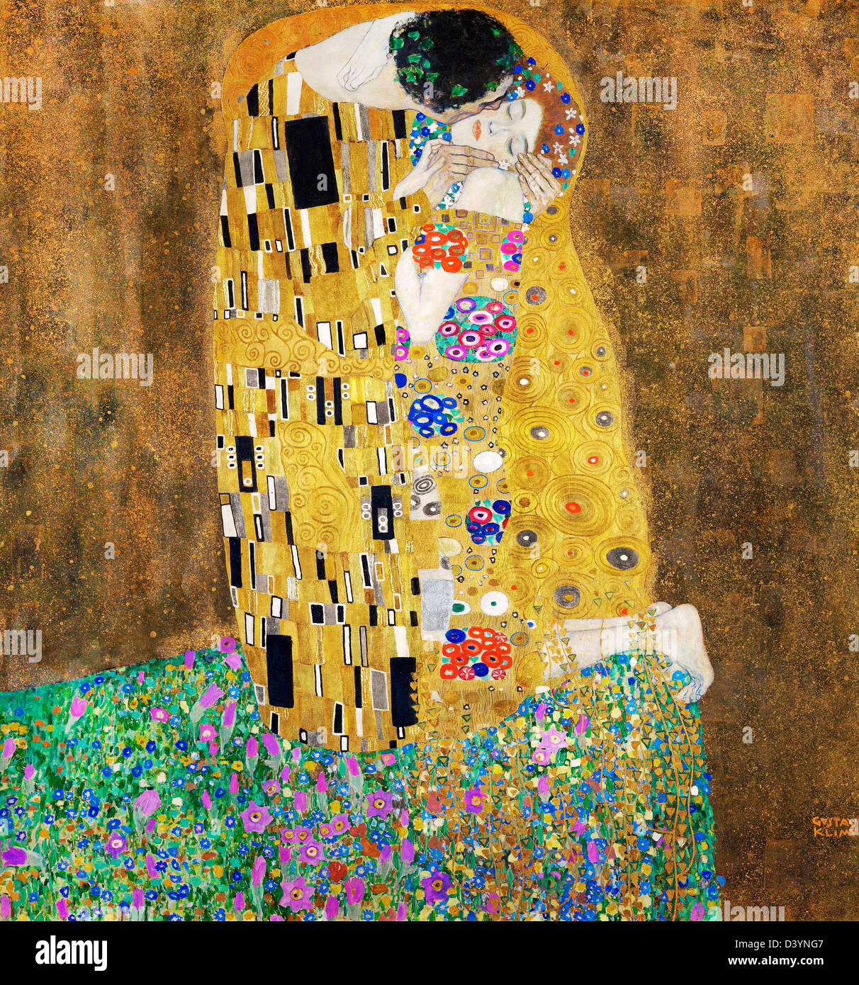 Gustav Klimt, The Kiss 1907-1908 Oil on canvas. Austrian Gallery Belvedere, Vienna, Austria - Stock Image