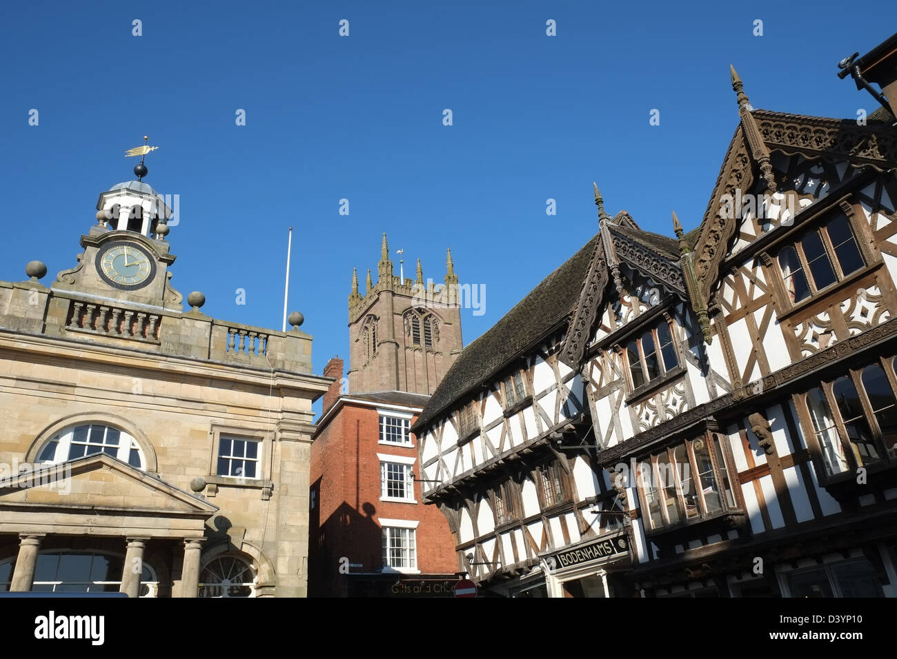 Cathedral of the Marches - St Laurence - Buttercross an historic buildings on Broad Street, Ludlow, Shropshire, - Stock Image