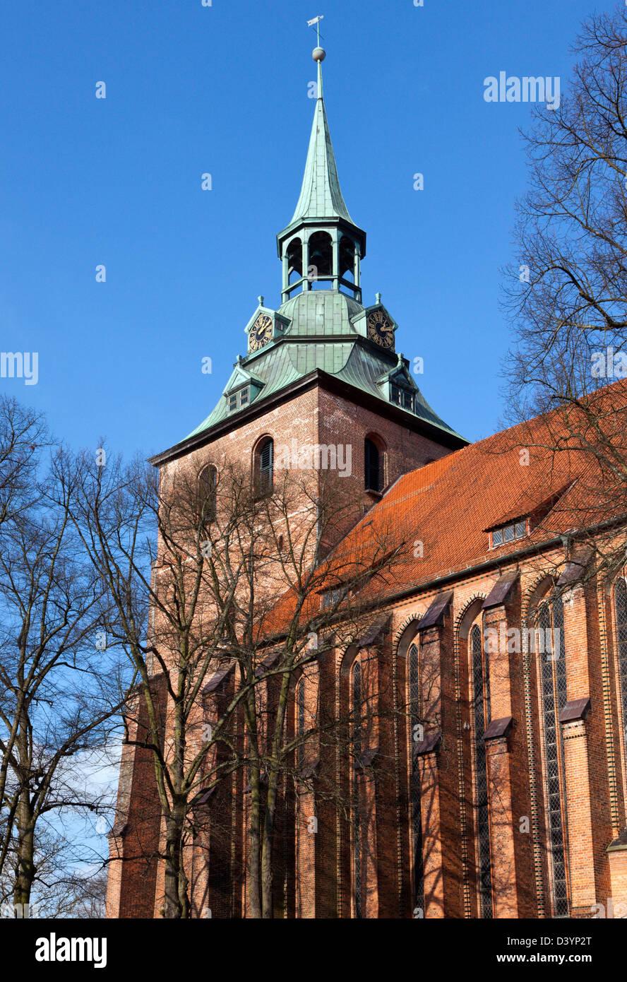 Michaeliskirche Lüneburg - bell tower of gothic church St Michaelis at Luneburg - Stock Image