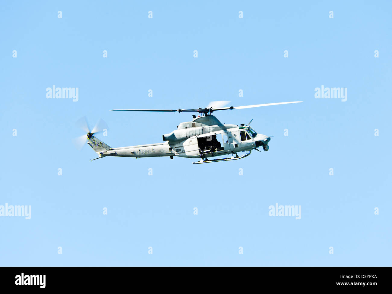 US Marines Bell UH-1Y Venom Helicopter 167994 In Flight Over San Diego California United States America USA Stock Photo