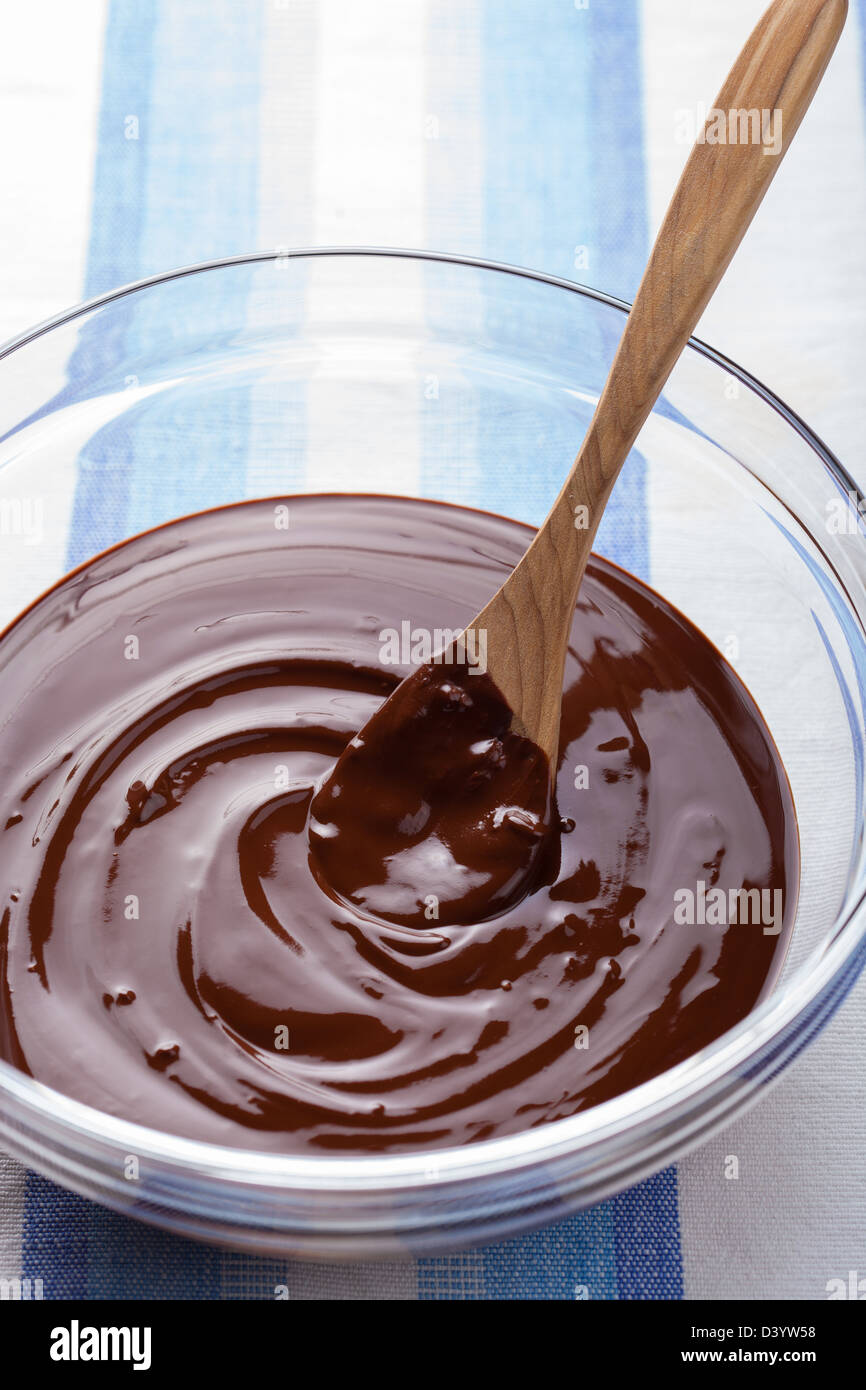 melted chocolate for cooking - Stock Image