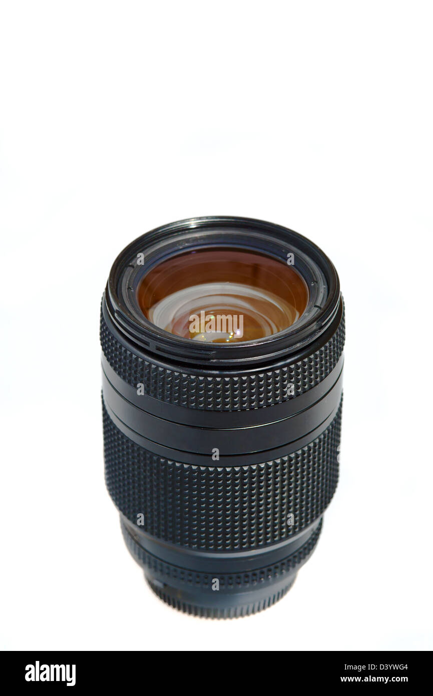 Photo lens for photo camera on a white background - Stock Image