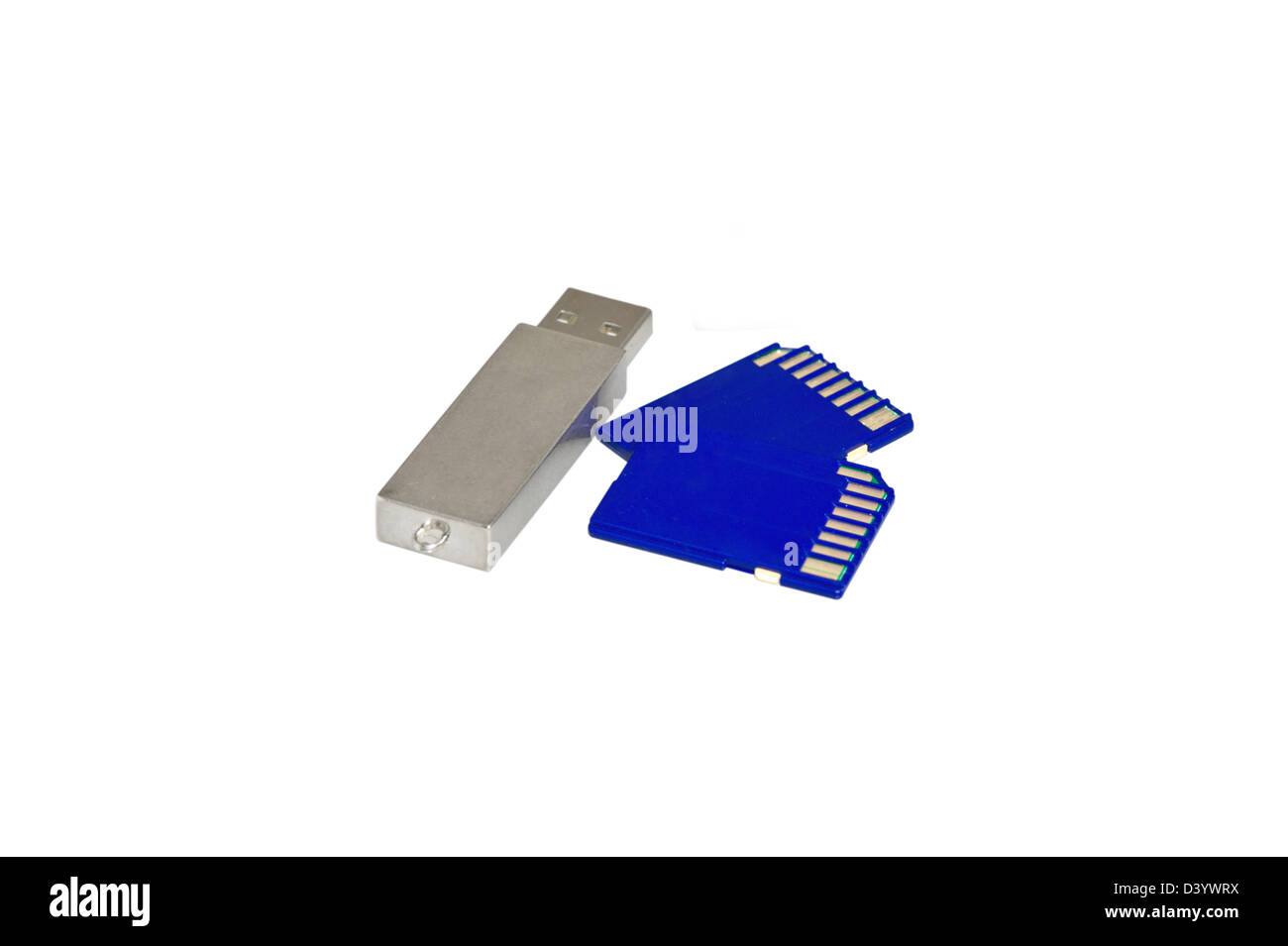 usb devices for storing information on a white background - Stock Image