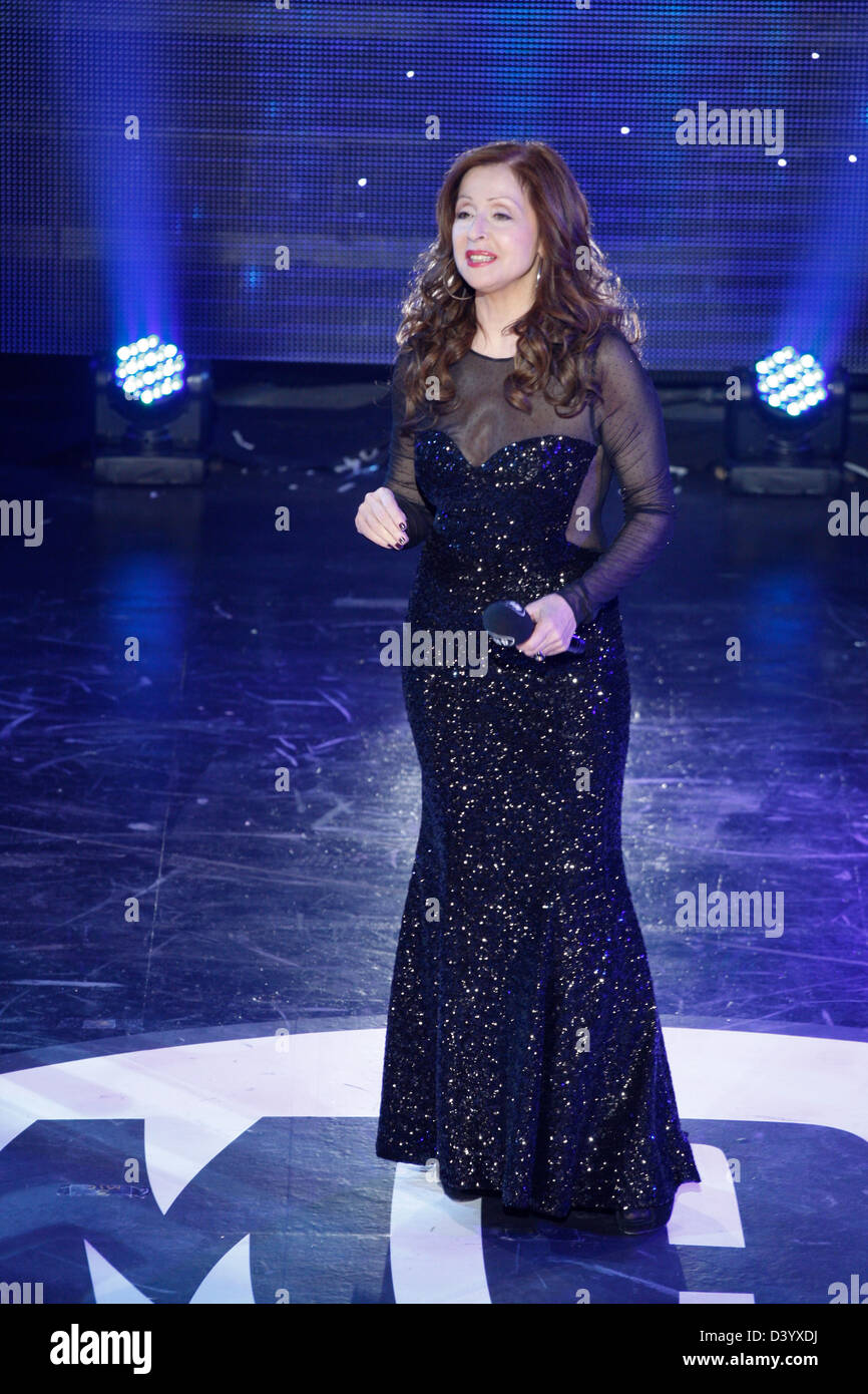 Singer VICKY LEANDROS presided the judge panel and sang as guest star at the Greek Eurovision Song Contest selection - Stock Image