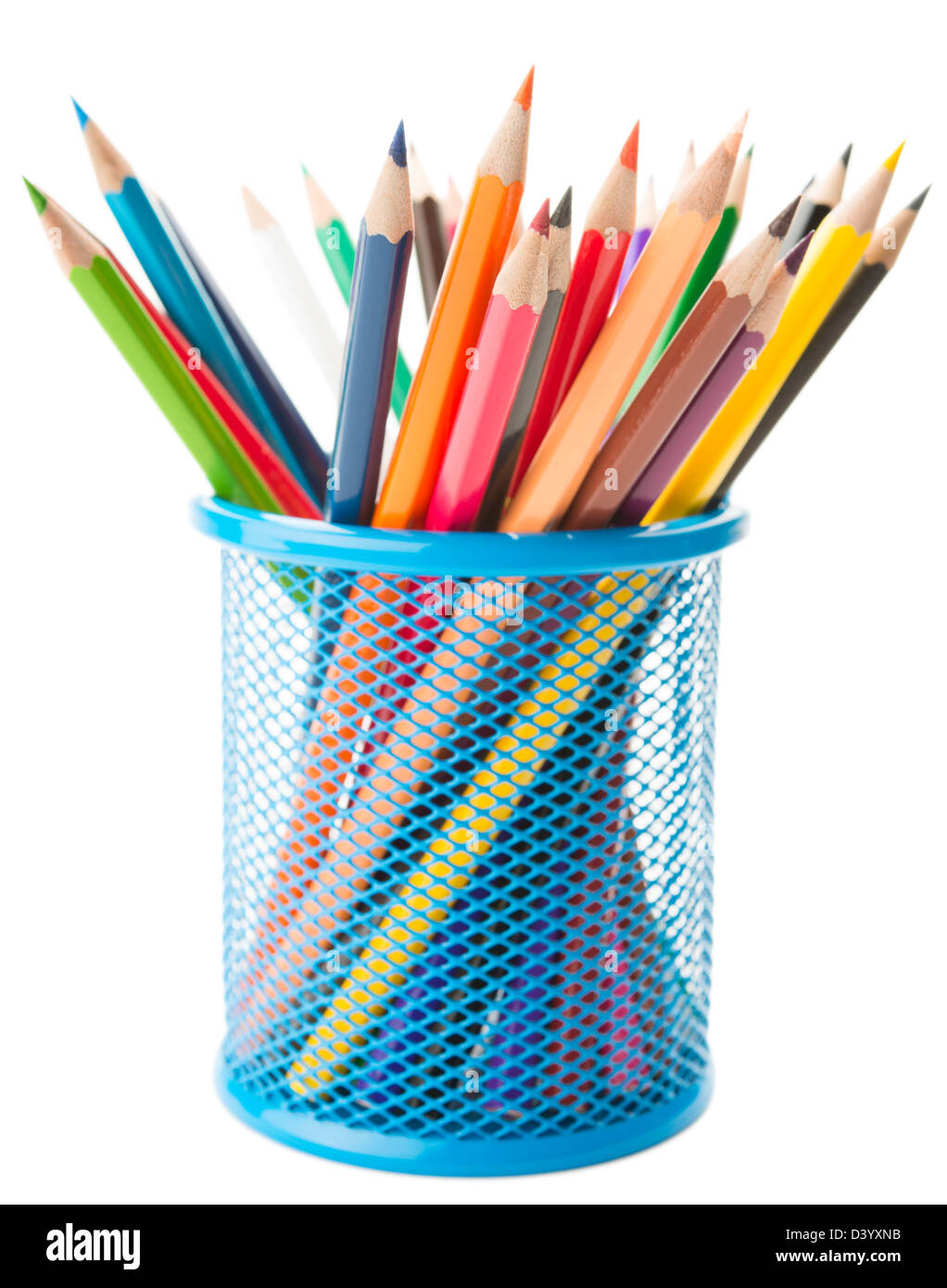 Color pencils in a basket - Stock Image