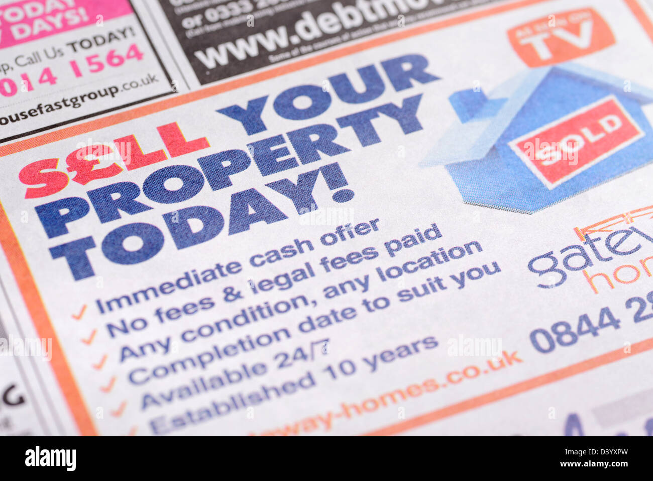 Sell Your Property for Cash Advertisement in a Newspaper, UK. - Stock Image