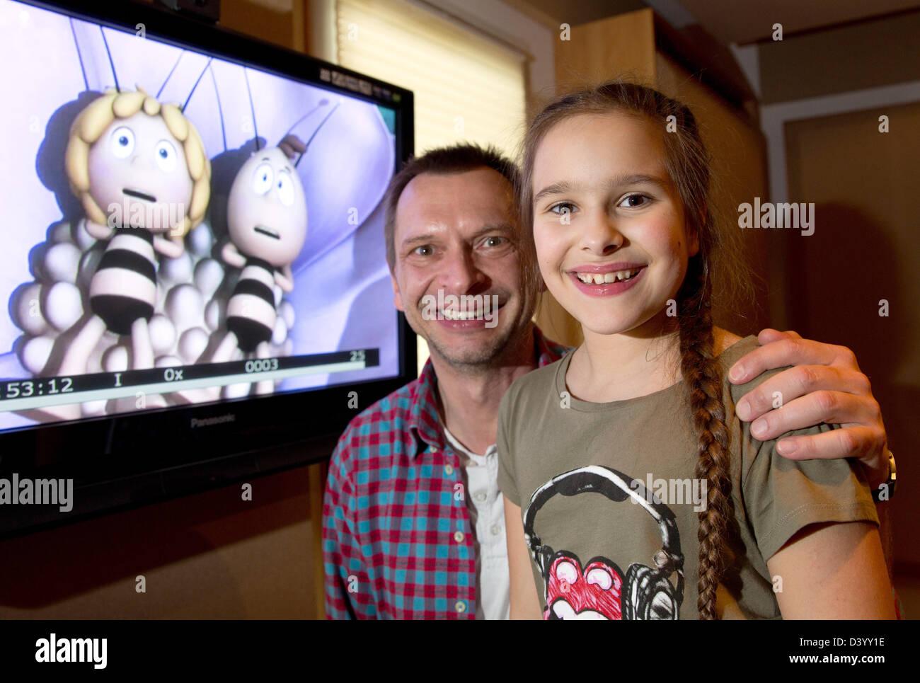Voice actors Hans-Juergen Dittberner Zalina Sanchez (Maya the Bee) and Gerd Meyer (Willi) pose on the occasion of - Stock Image