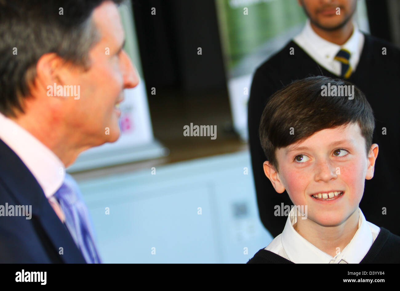 Glasgow, UK. 27th February 2013.  Seb Coe visits Shawlands Academy Glasgow to support Glasgow's bid to host - Stock Image