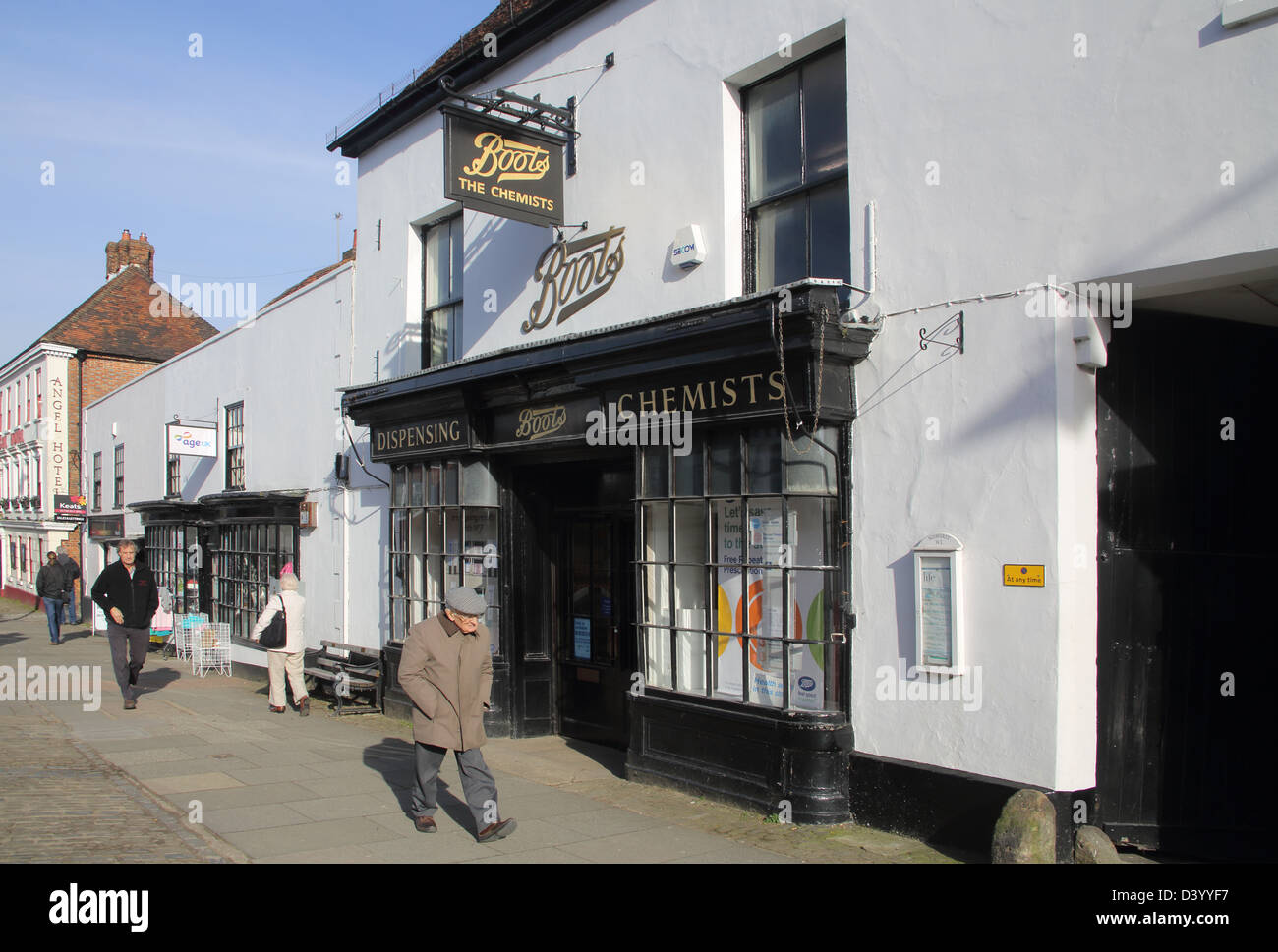 boots the chemist in midhurst in west sussex - Stock Image