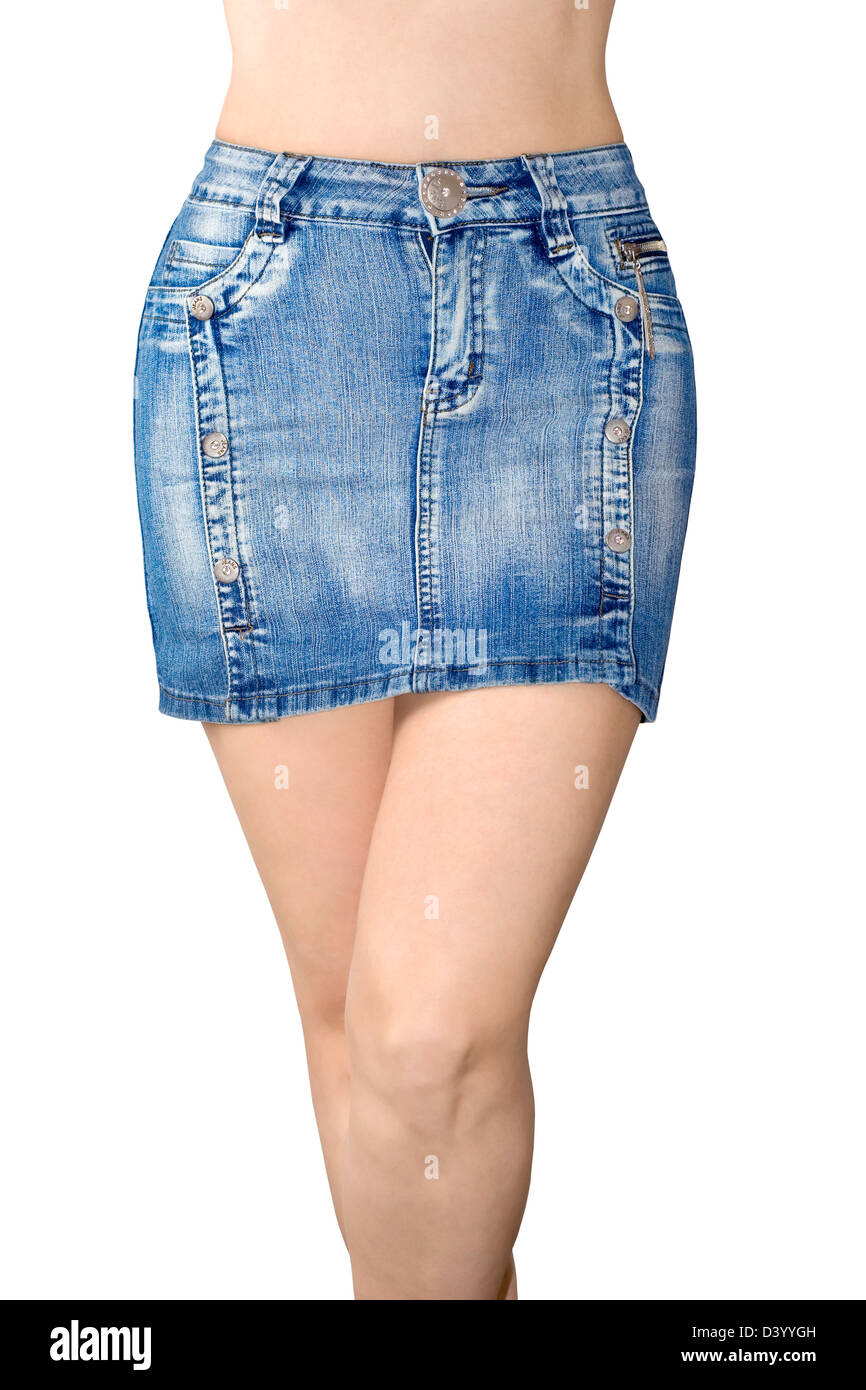 Blue jean miniskirt is the front view - Stock Image