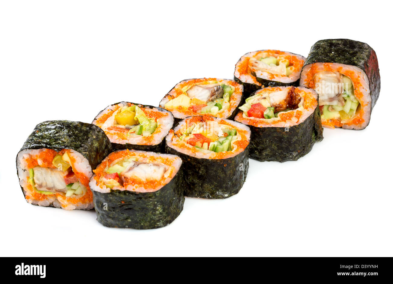 Tasty food. Sushi Roll on a white background - Stock Image